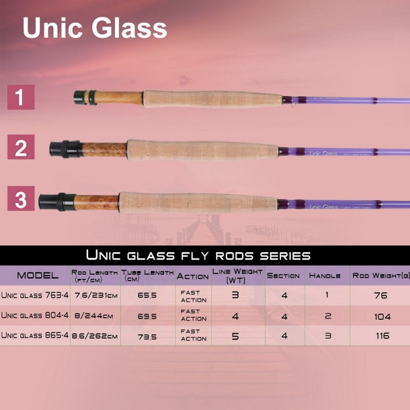 Unic Fiberglass Fast Action Carbon Glass Blank Fly Rod